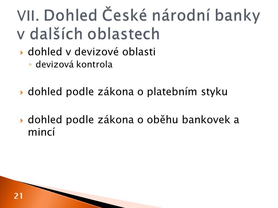 VII. Dohled České národní banky v dalších oblastech