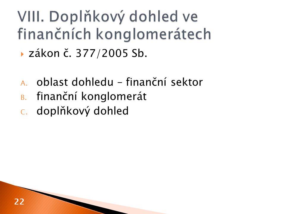 VIII. Doplňkový dohled ve finančních konglomerátech