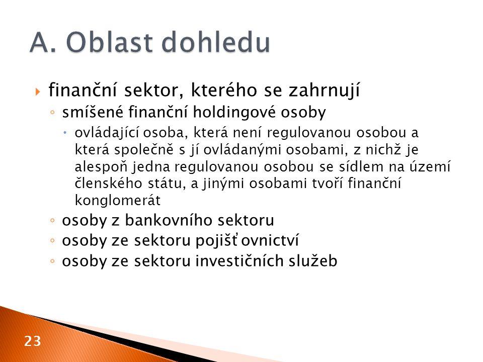 A. Oblast dohledu finanční sektor, kterého se zahrnují