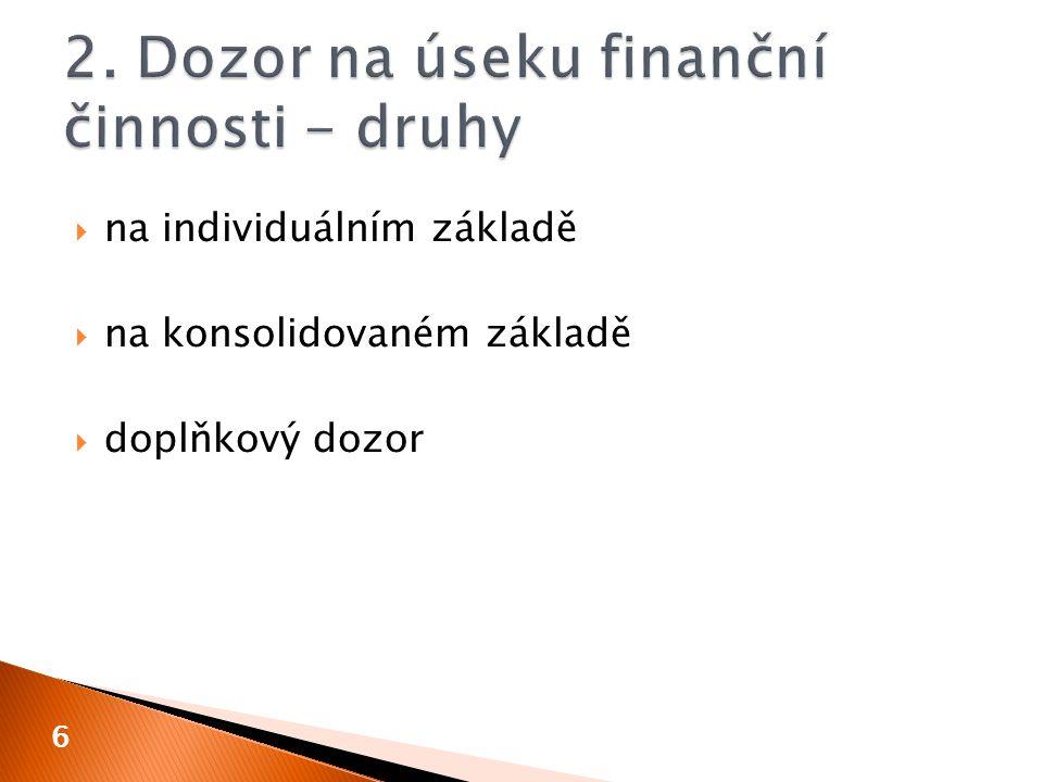 2. Dozor na úseku finanční činnosti - druhy