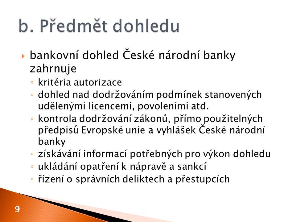 b. Předmět dohledu bankovní dohled České národní banky zahrnuje