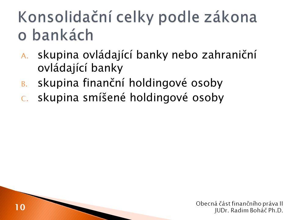 Konsolidační celky podle zákona o bankách