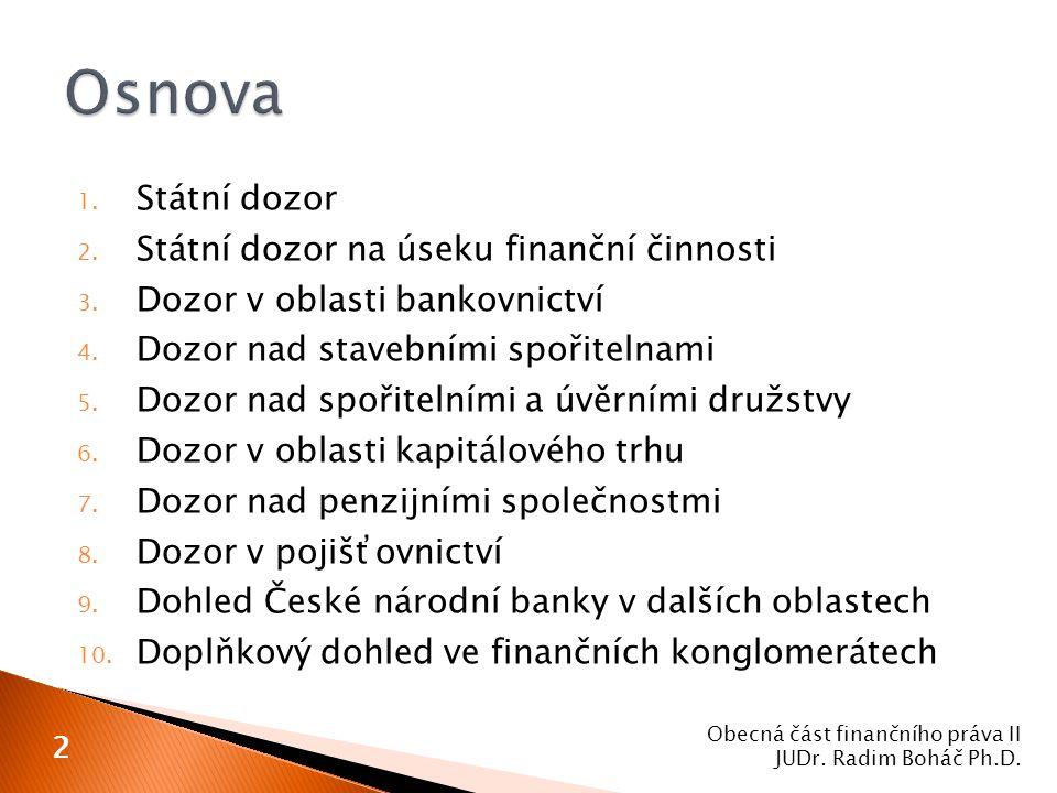 Osnova Státní dozor Státní dozor na úseku finanční činnosti