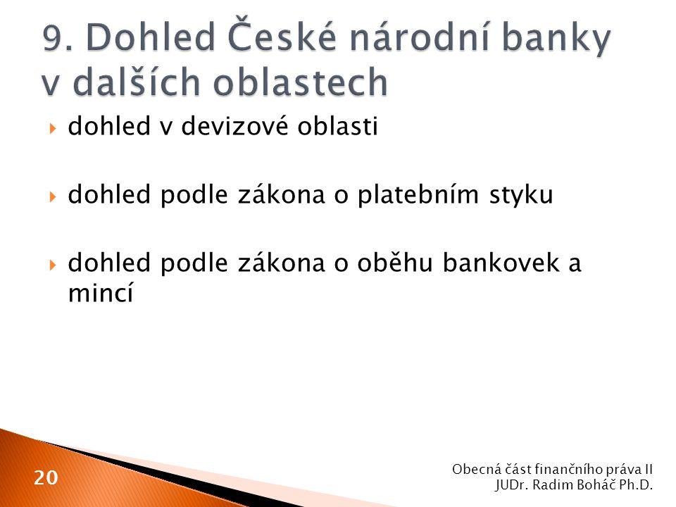 9. Dohled České národní banky v dalších oblastech