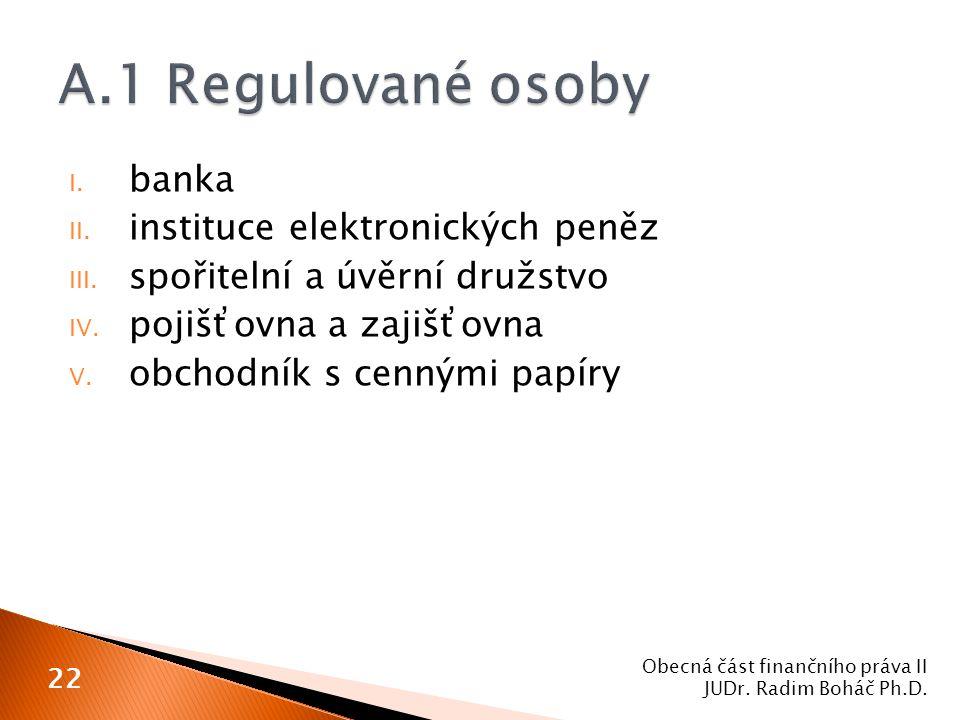A.1 Regulované osoby banka instituce elektronických peněz