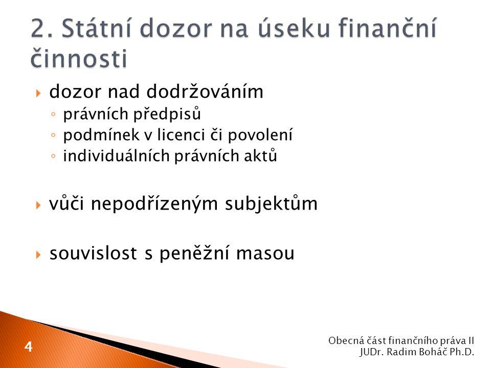 2. Státní dozor na úseku finanční činnosti