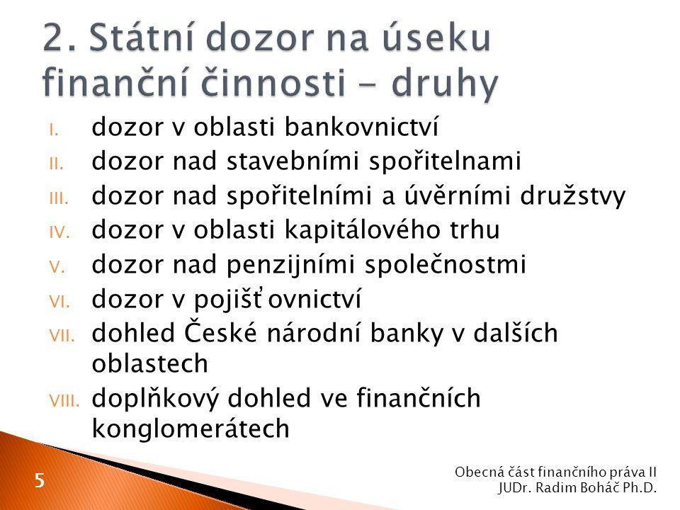 2. Státní dozor na úseku finanční činnosti - druhy