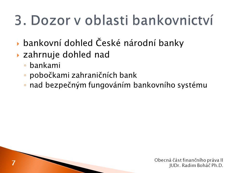 3. Dozor v oblasti bankovnictví