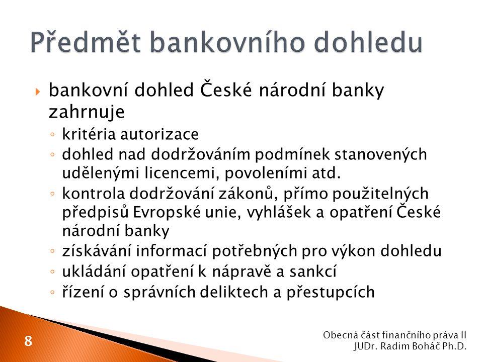 Předmět bankovního dohledu