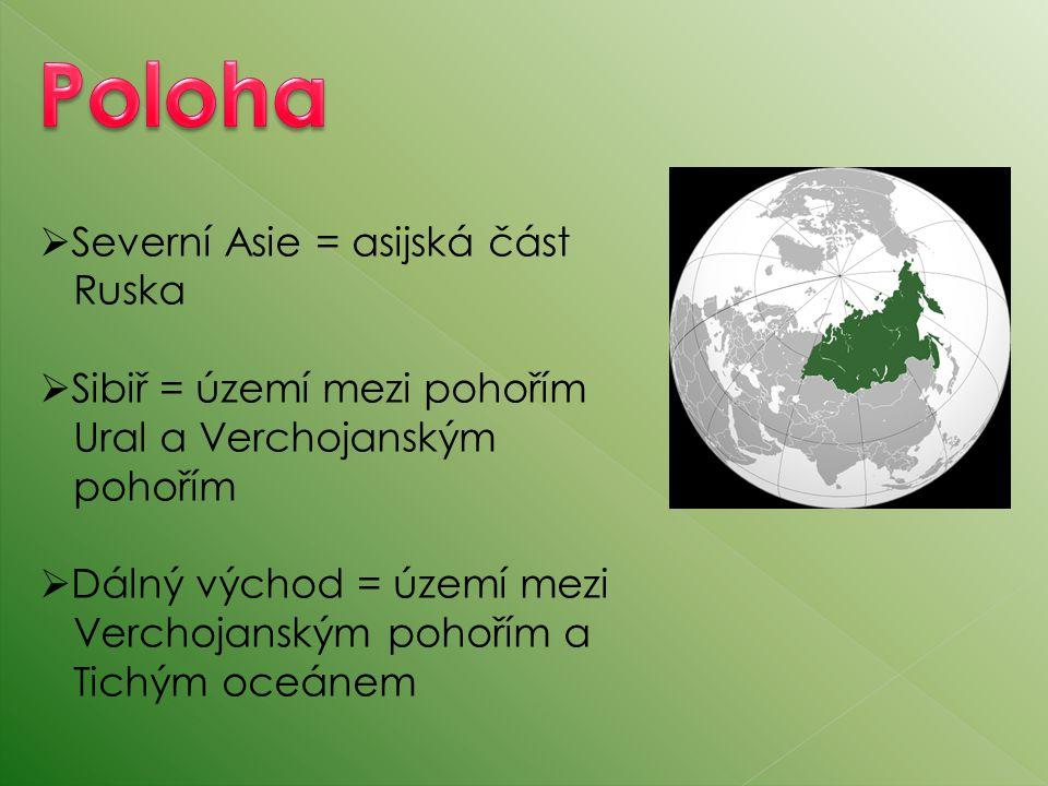 Poloha Severní Asie = asijská část Ruska Sibiř = území mezi pohořím