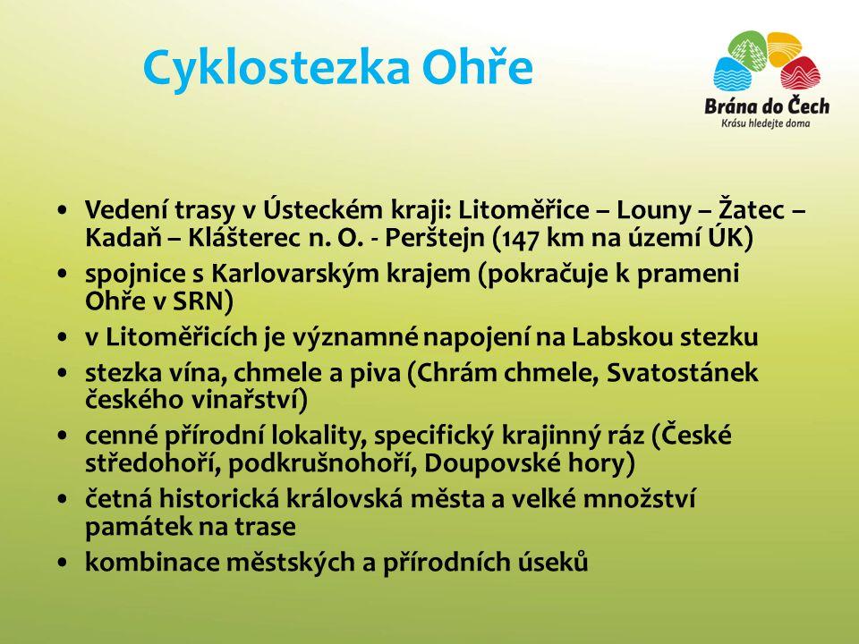 Cyklostezka Ohře Vedení trasy v Ústeckém kraji: Litoměřice – Louny – Žatec – Kadaň – Klášterec n. O. - Perštejn (147 km na území ÚK)