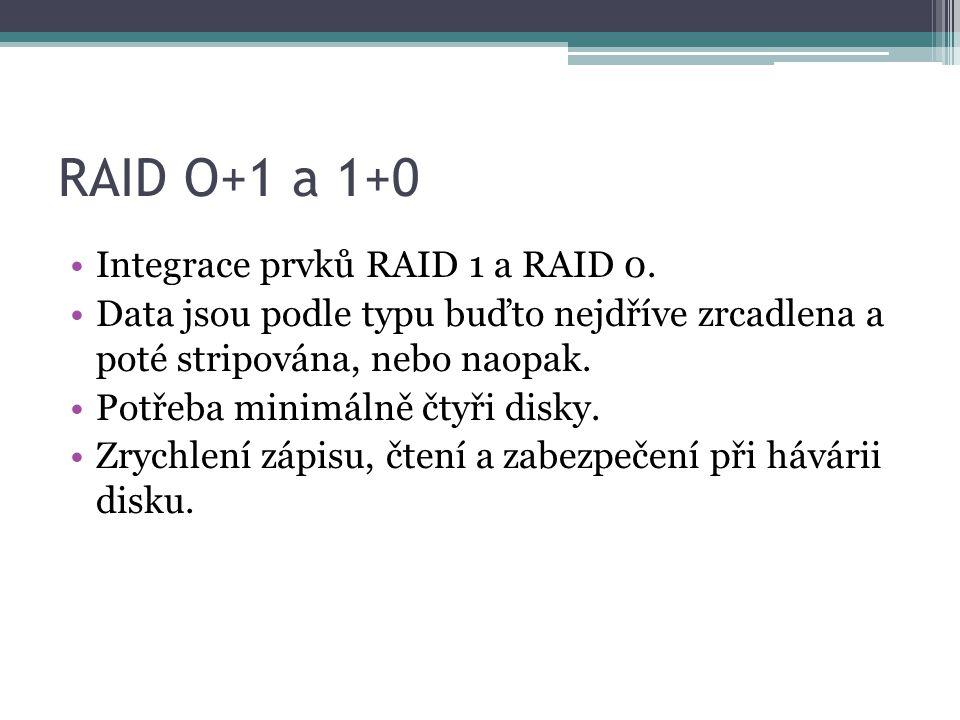 RAID O+1 a 1+0 Integrace prvků RAID 1 a RAID 0.