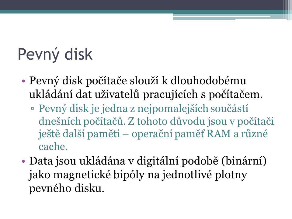 Pevný disk Pevný disk počítače slouží k dlouhodobému ukládání dat uživatelů pracujících s počítačem.