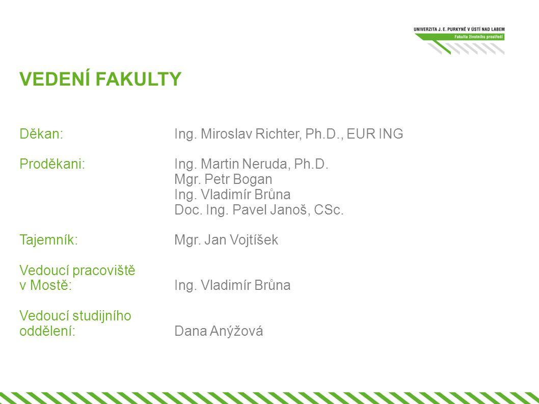 VEDENÍ FAKULTY Děkan: Ing. Miroslav Richter, Ph.D., EUR ING