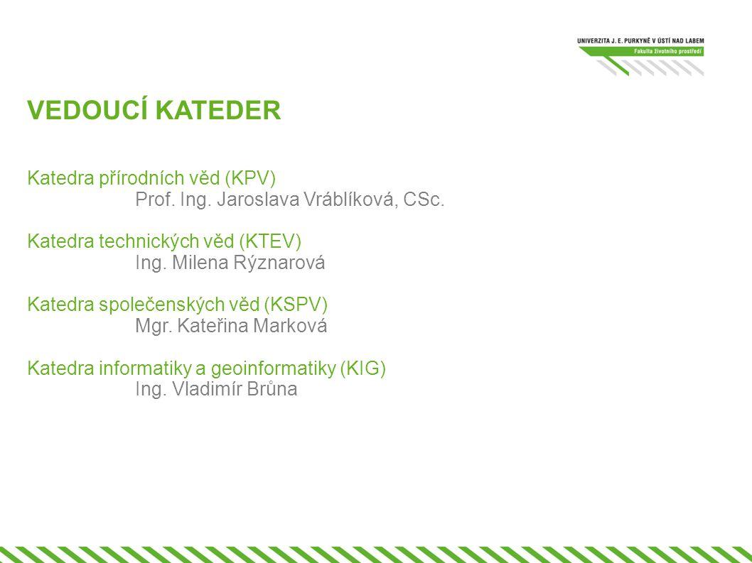 VEDOUCÍ KATEDER Katedra přírodních věd (KPV) Prof. Ing. Jaroslava Vráblíková, CSc. Katedra technických věd (KTEV)