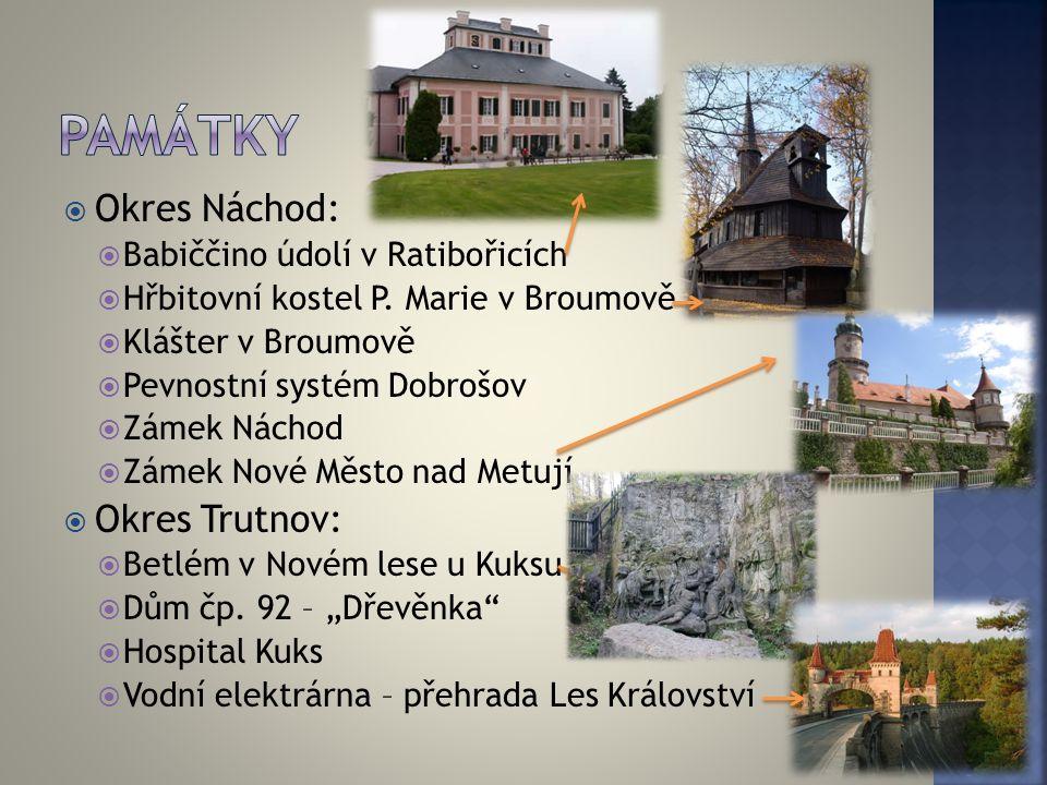 památky Okres Náchod: Okres Trutnov: Babiččino údolí v Ratibořicích
