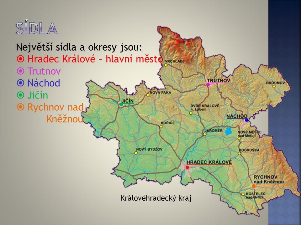 Sídla Největší sídla a okresy jsou: Hradec Králové – hlavní město