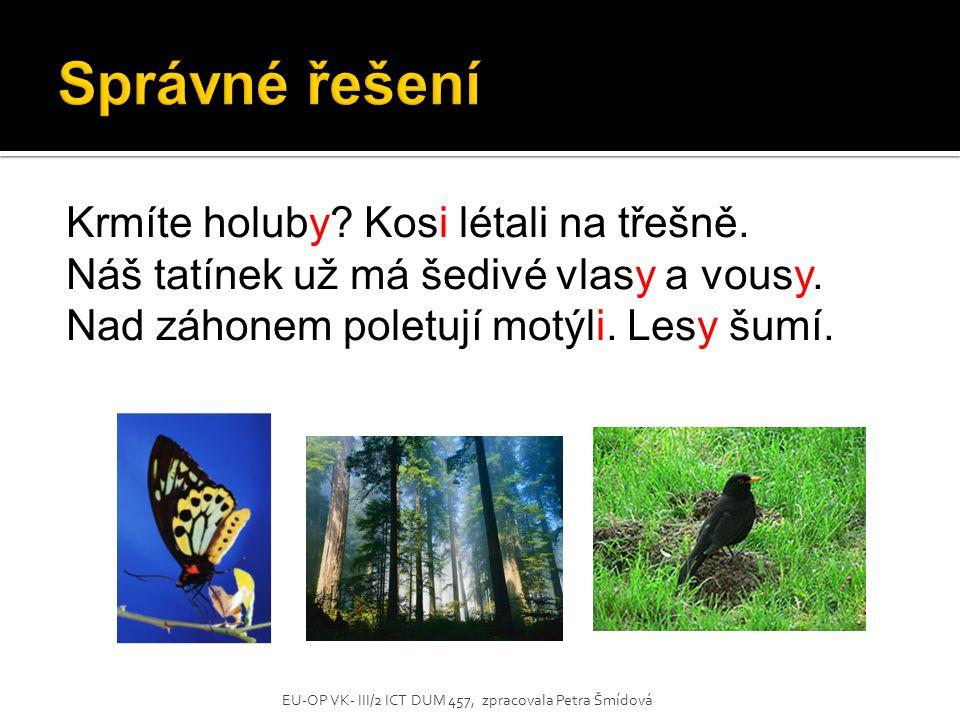 Správné řešení Krmíte holuby Kosi létali na třešně.