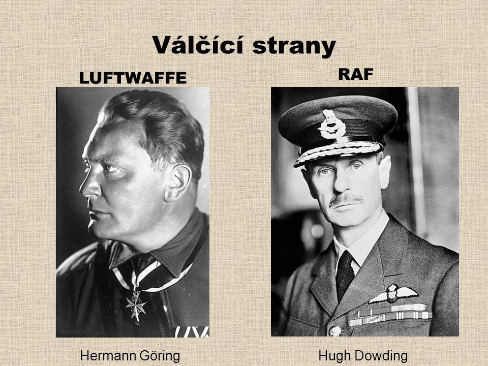 Válčící strany RAF LUFTWAFFE Hermann Göring Hugh Dowding