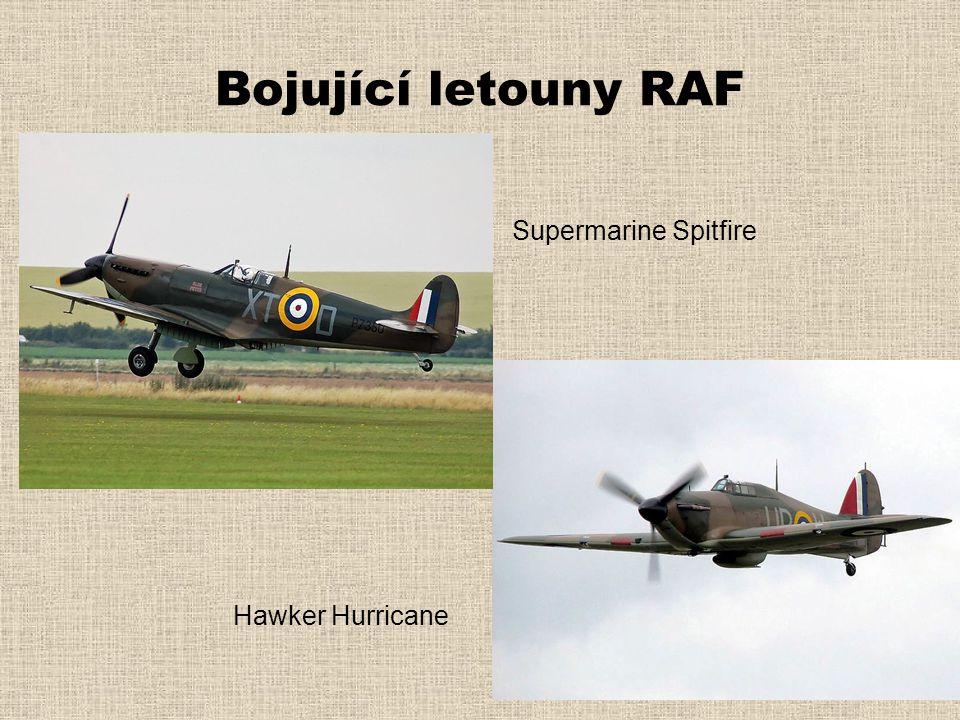 Bojující letouny RAF Supermarine Spitfire Hawker Hurricane