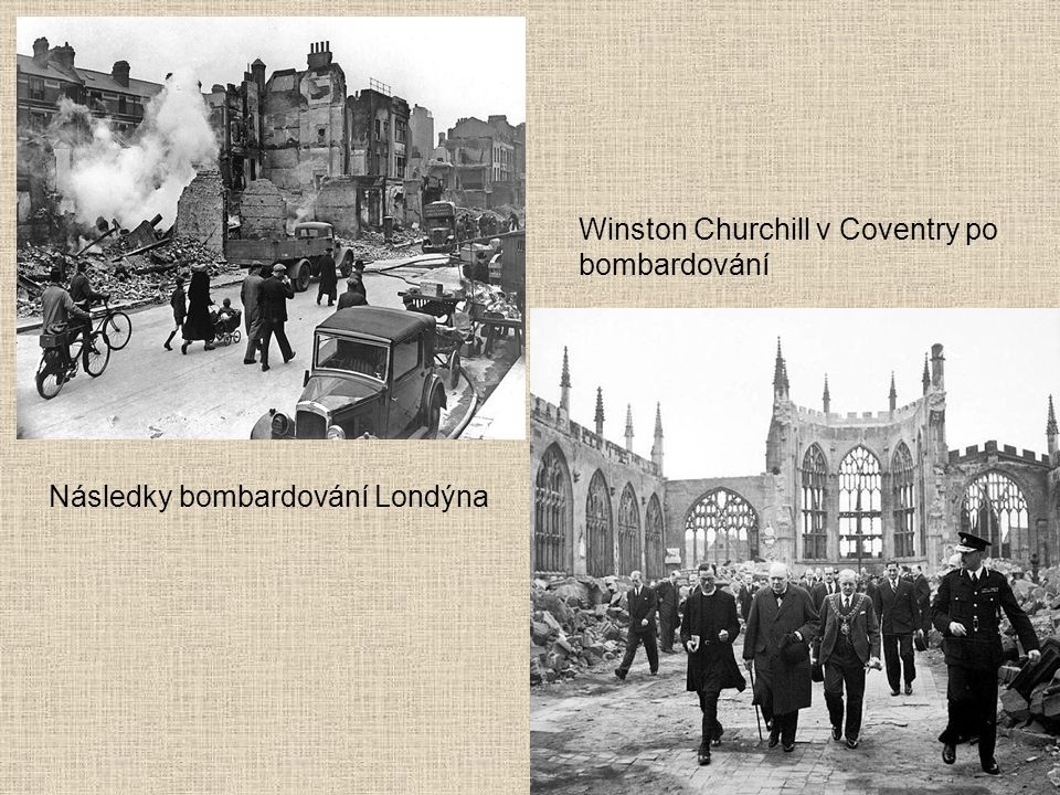 Winston Churchill v Coventry po bombardování
