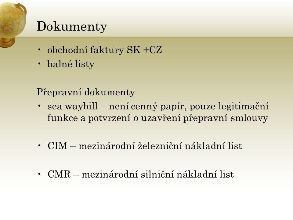 Dokumenty obchodní faktury SK +CZ balné listy Přepravní dokumenty