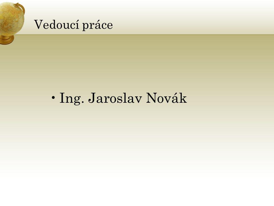 Vedoucí práce Ing. Jaroslav Novák