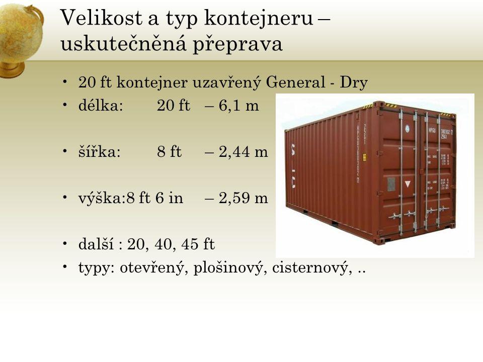 Velikost a typ kontejneru – uskutečněná přeprava