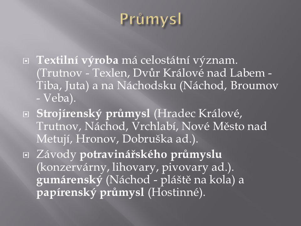 Průmysl Textilní výroba má celostátní význam. (Trutnov - Texlen, Dvůr Králové nad Labem - Tiba, Juta) a na Náchodsku (Náchod, Broumov - Veba).