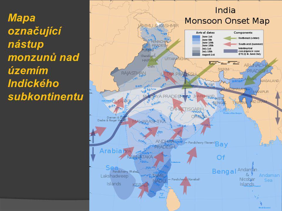 Mapa označující nástup monzunů nad územím Indického subkontinentu