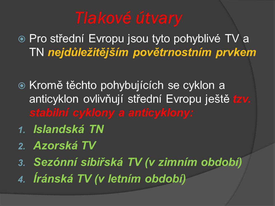 Tlakové útvary Pro střední Evropu jsou tyto pohyblivé TV a TN nejdůležitějším povětrnostním prvkem.