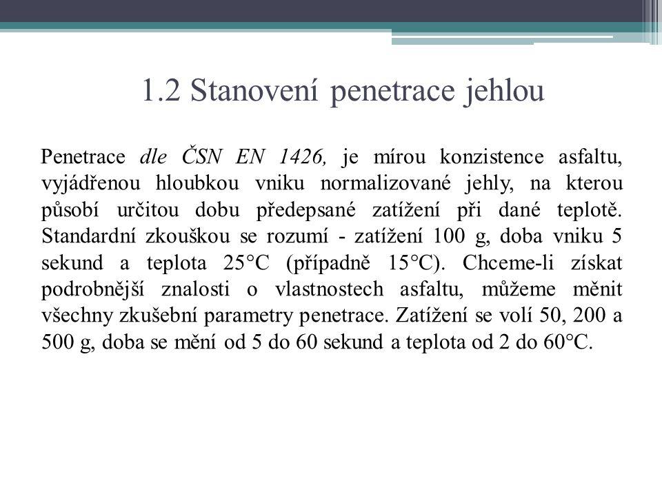 1.2 Stanovení penetrace jehlou