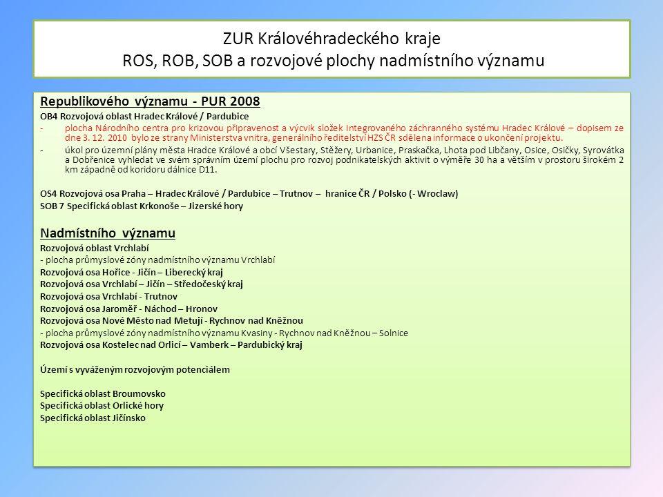 ZUR Královéhradeckého kraje ROS, ROB, SOB a rozvojové plochy nadmístního významu