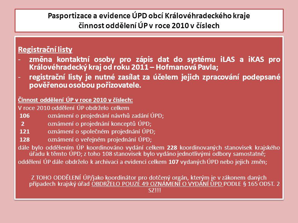 Pasportizace a evidence ÚPD obcí Královéhradeckého kraje činnost oddělení ÚP v roce 2010 v číslech