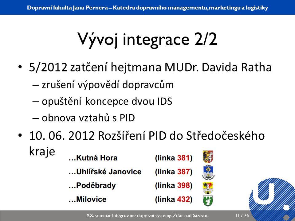 Vývoj integrace 2/2 5/2012 zatčení hejtmana MUDr. Davida Ratha