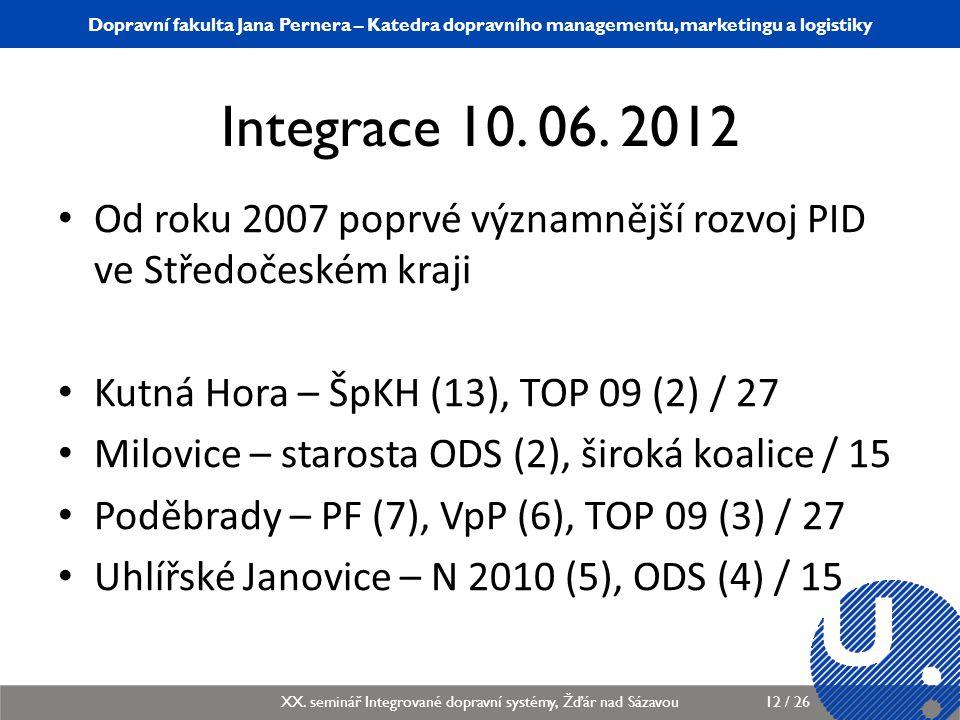 Integrace 10. 06. 2012 Od roku 2007 poprvé významnější rozvoj PID ve Středočeském kraji. Kutná Hora – ŠpKH (13), TOP 09 (2) / 27.