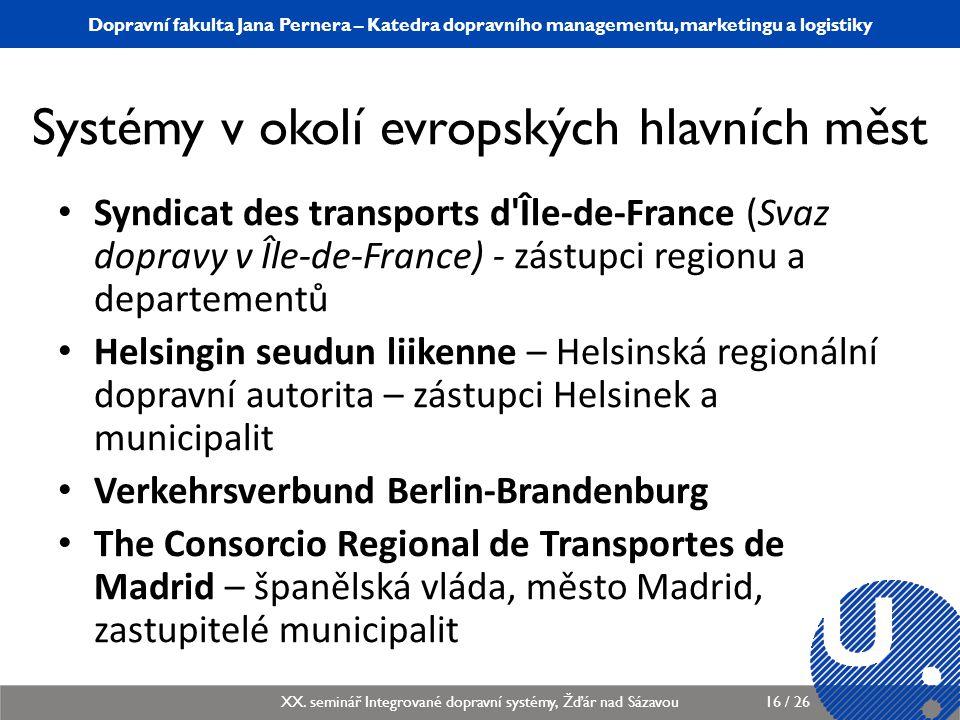 Systémy v okolí evropských hlavních měst