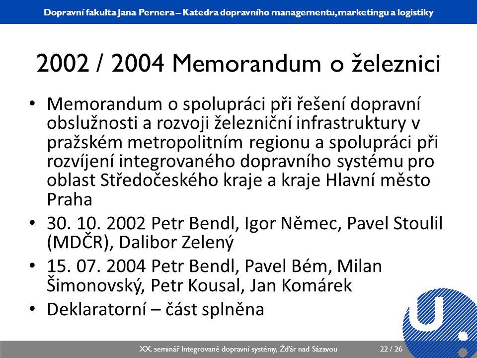 2002 / 2004 Memorandum o železnici