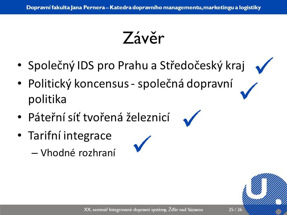 Závěr Společný IDS pro Prahu a Středočeský kraj