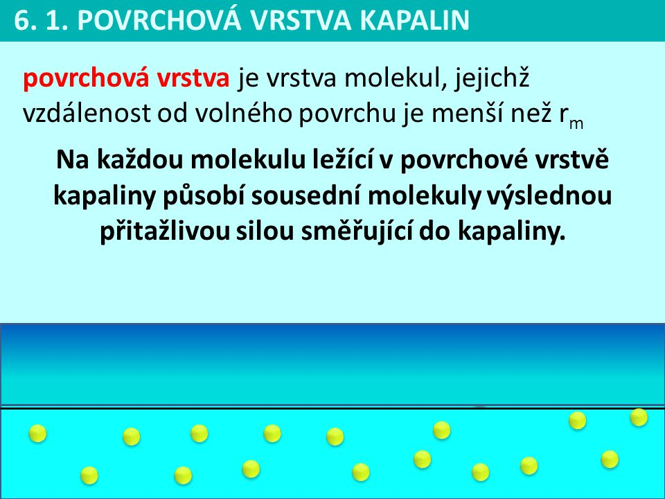 6. 1. POVRCHOVÁ VRSTVA KAPALIN