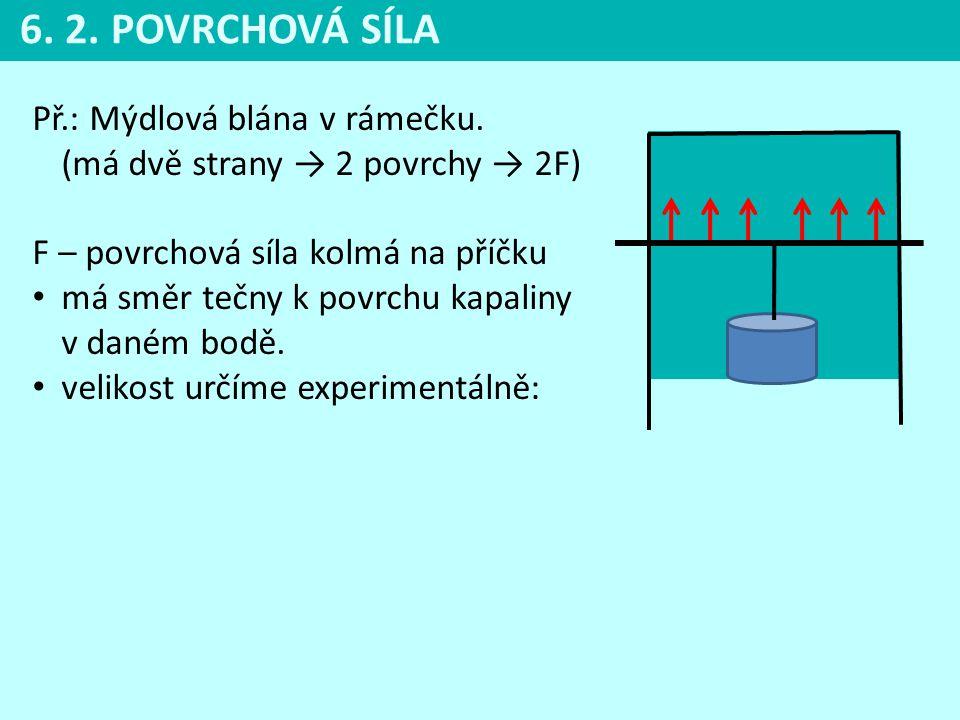 6. 2. POVRCHOVÁ SÍLA Př.: Mýdlová blána v rámečku. (má dvě strany → 2 povrchy → 2F) F – povrchová síla kolmá na příčku.