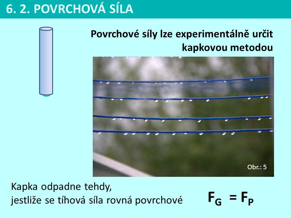 6. 2. POVRCHOVÁ SÍLA Povrchové síly lze experimentálně určit kapkovou metodou. Obr.: 5.