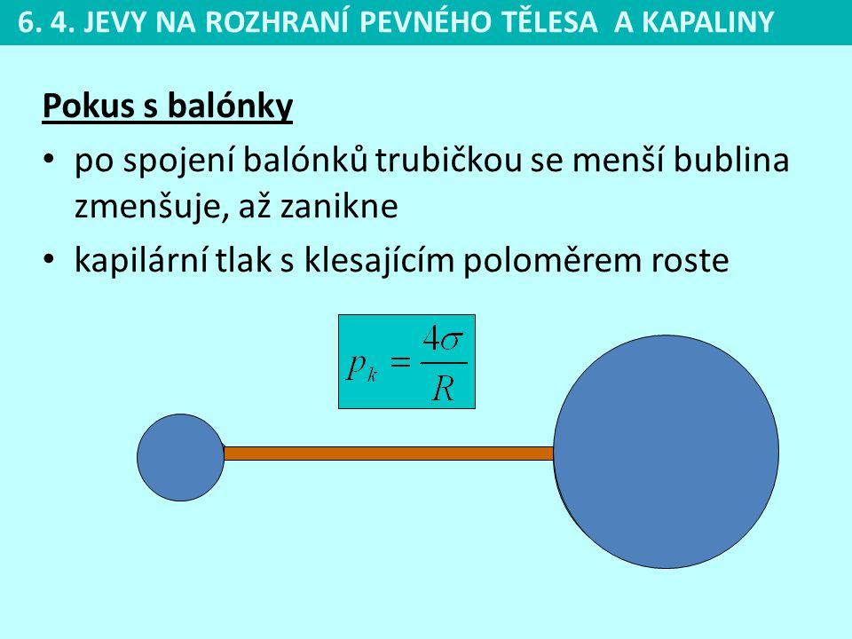 po spojení balónků trubičkou se menší bublina zmenšuje, až zanikne