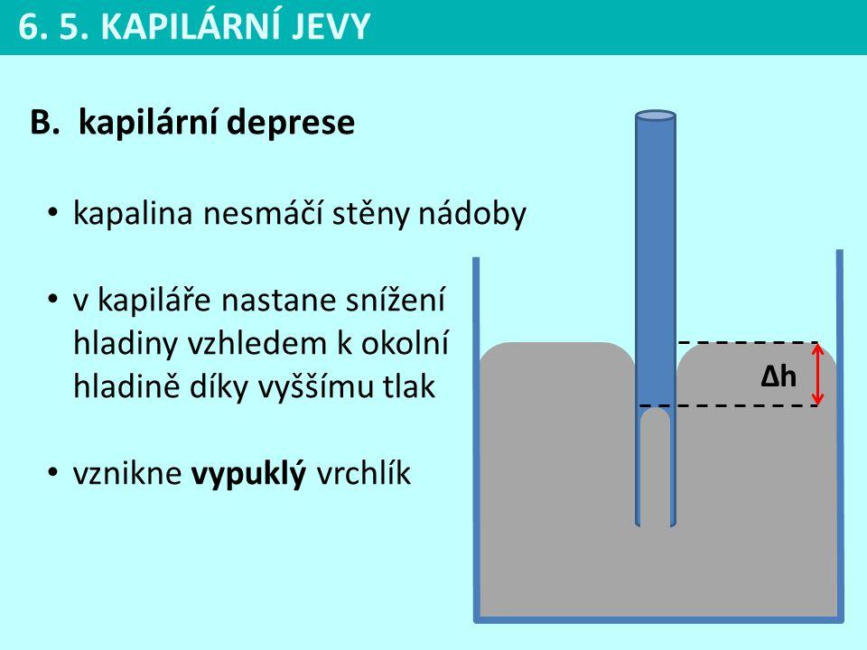 6. 5. KAPILÁRNÍ JEVY kapilární deprese kapalina nesmáčí stěny nádoby