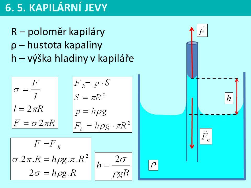 6. 5. KAPILÁRNÍ JEVY R – poloměr kapiláry ρ – hustota kapaliny