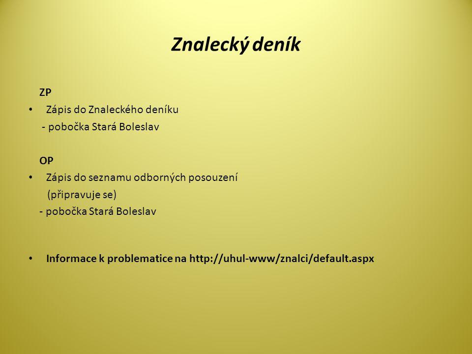 Znalecký deník ZP Zápis do Znaleckého deníku - pobočka Stará Boleslav