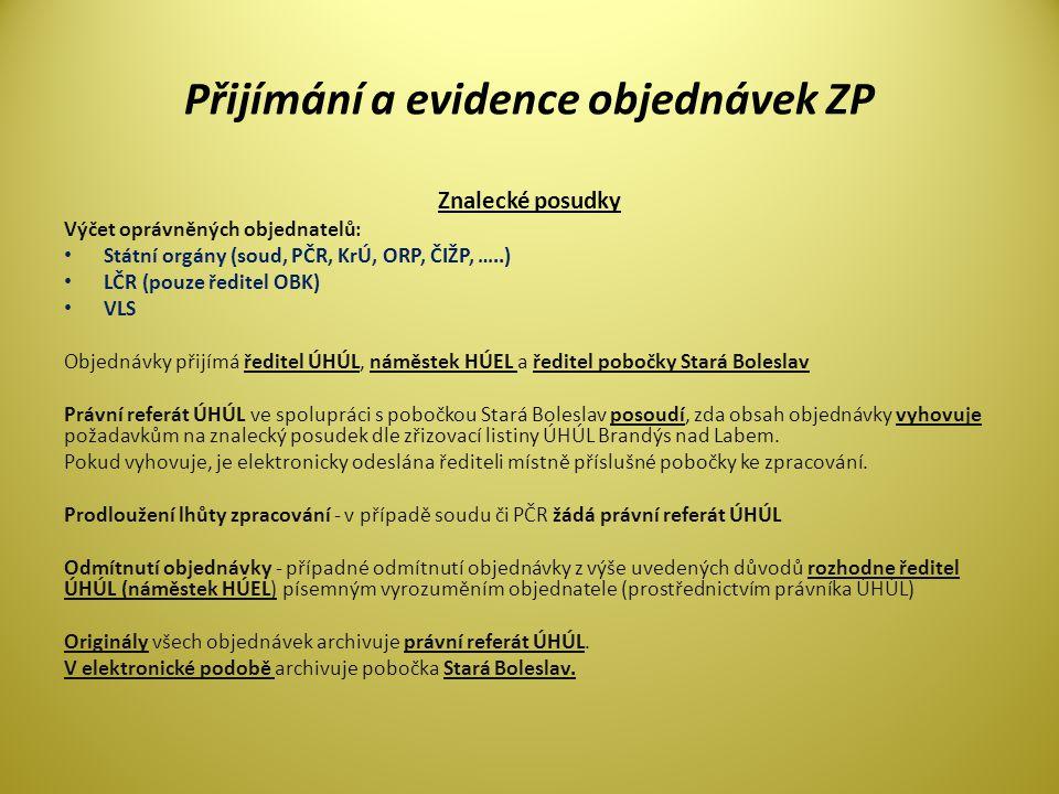 Přijímání a evidence objednávek ZP