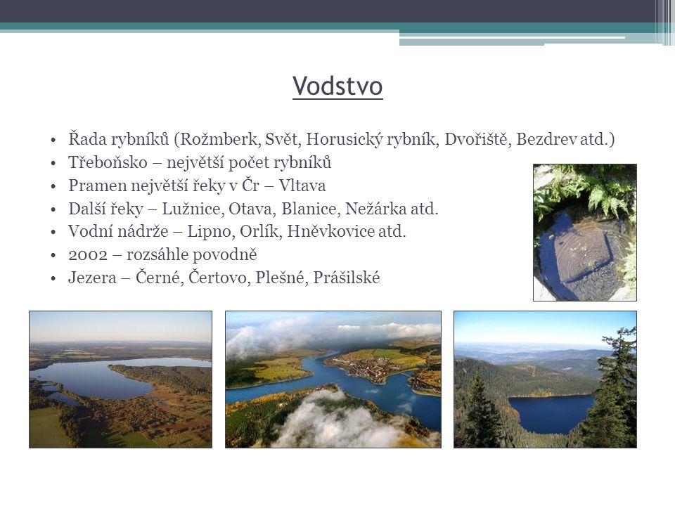Vodstvo Řada rybníků (Rožmberk, Svět, Horusický rybník, Dvořiště, Bezdrev atd.) Třeboňsko – největší počet rybníků.