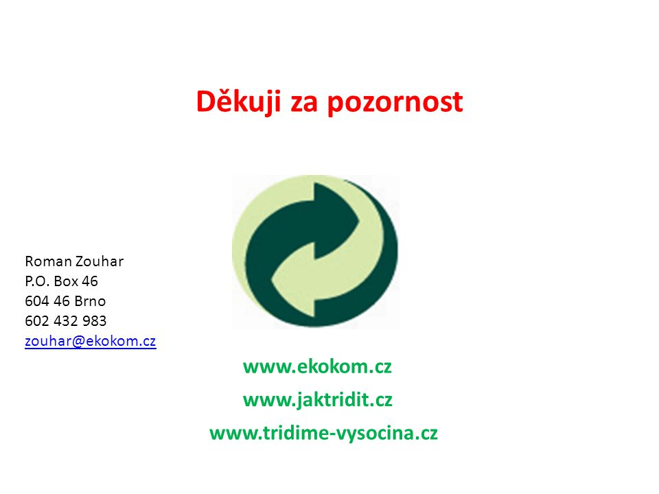 Děkuji za pozornost www.ekokom.cz www.jaktridit.cz