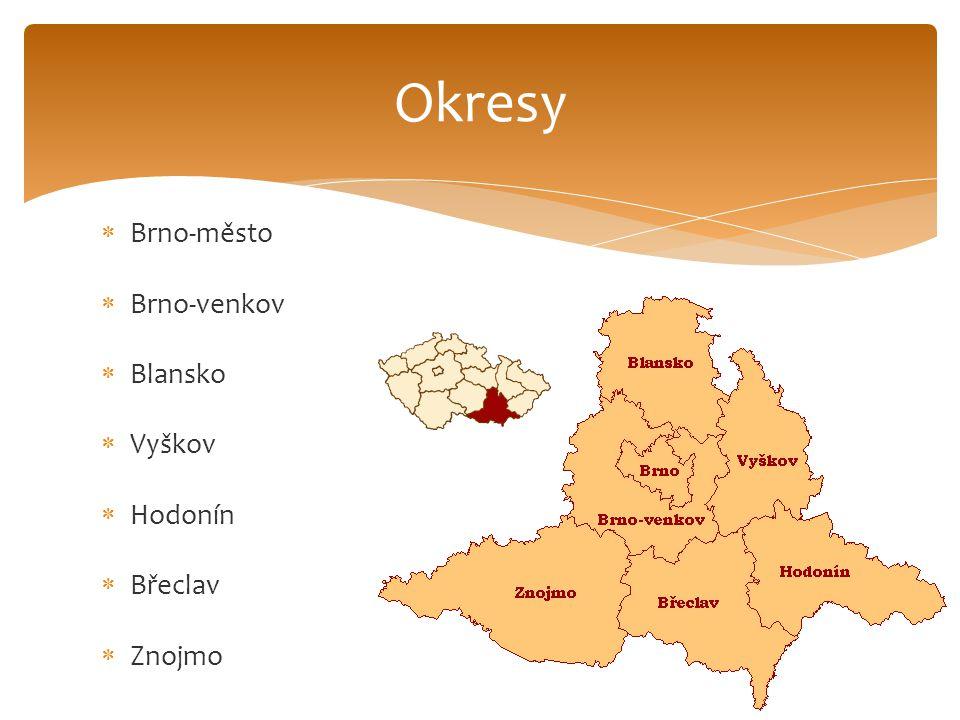 Okresy Brno-město Brno-venkov Blansko Vyškov Hodonín Břeclav Znojmo